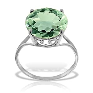 14k Solid White Gold Ring with Natural 12.0 MM Round Green Amethyst - Size 9.0