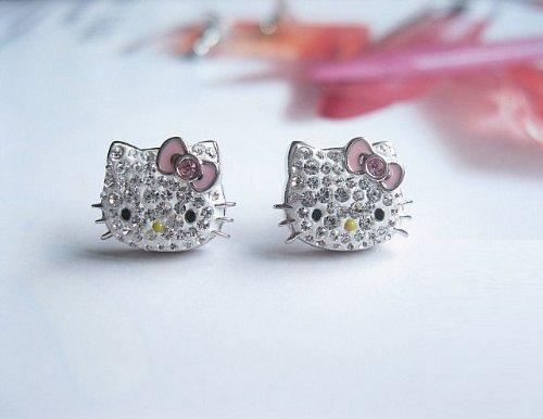 Hello Kitty Hello Kitty Pink Bow Swarovski earrings