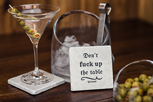 Stone Coasters - Don't Fuck up the Table - Set of Four Drink Coasters - Housewarming Gift Rocks