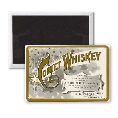 COMET WHISKEY LABEL - 3x2 inch Fridge Magnet - large magnetic button - Magnet