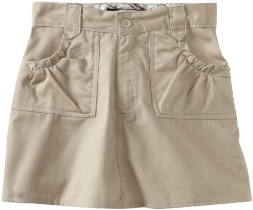 U.S. Polo Association School Uniform Big Girls' Ditsy Waistband Twill Scooter Skirt, Khaki, 14