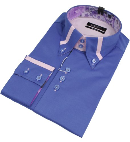 Mens Italian Button Collar Blue Shirt Pink Trim Slim Fit Smart or Casual 100% Cotton