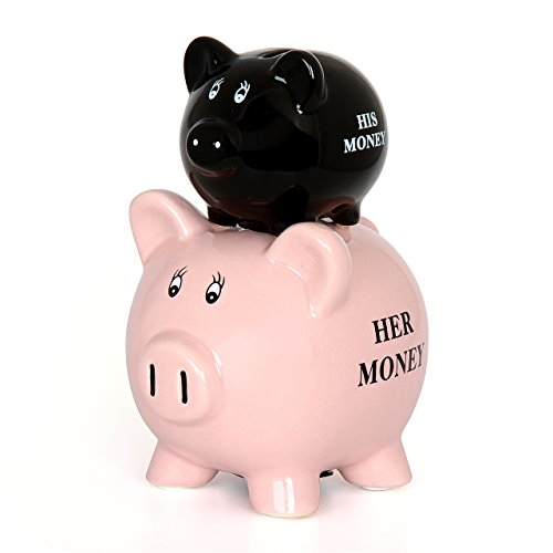 IGGI New Novelty His and Hers Coin Saving Piggy Bank Money Jar - 1