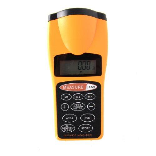 Kinglake Brand New Ultrasonic Tape Measure Hand Held Laser Distance Meter Laser Pointer 18 Meters (Yellow)