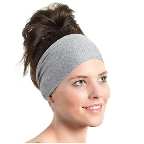 Lightweight Sports Headband - Red Dust Active - Non Slip Moisture Wicking Gray Sweatband - Ideal for Running, Cycling, Hot Yoga and Athletic workouts - Designed for Women Borrowed by Men