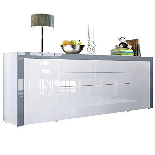 Sideboard-Kommode-La-Paz-V2-Korpus-in-Wei-Hochglanz-Front-in-Wei-Hochglanz-mit-Rahmen-in-Grau-Hochglanz