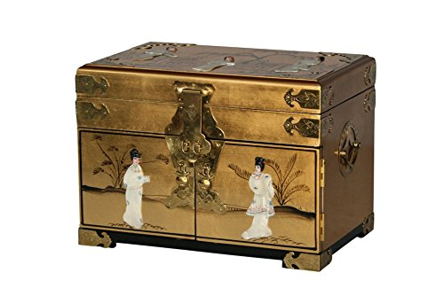 Gold Lacquer Wooden Jewelry Chest Model 8541-G back-223171