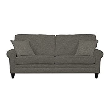 Traditional Portfolio Bradley Charcoal Grey Linen Sofast Sofa It Adds Contemporary Charm to Your Living Space