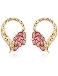 I Jewels Traditional Gold Plated American Diamond Earrings For Women EC101Q (Pink/Rani)
