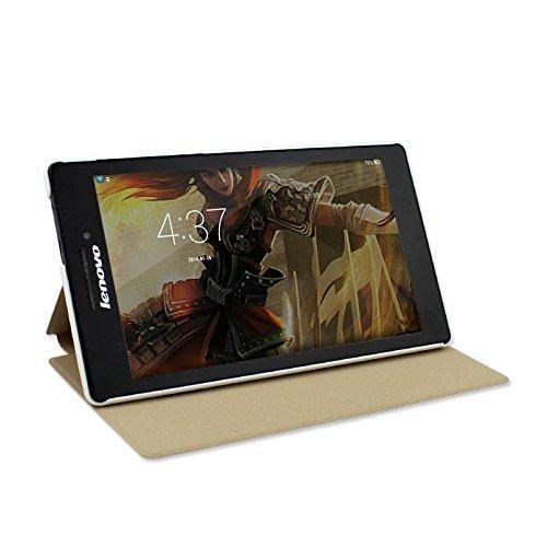 IVSO Lenovo Tab 2 A7-10 Hülle Case Folio Tasche Cover - mit Standfunction Slim Style Leder Folio Schutzhülle NUR geeignet für Lenovo Tab 2 A7-10 17,8 cm (7 Zoll IPS) Tablet (Für Lenovo Tab 2 A7-10, Weiß)