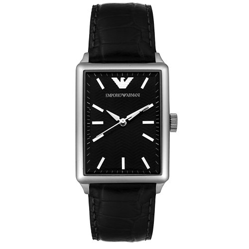 771b95c54ef53 Emporio Armani Men's AR0406 Midsize Stainless Steel and Black Leather Watch