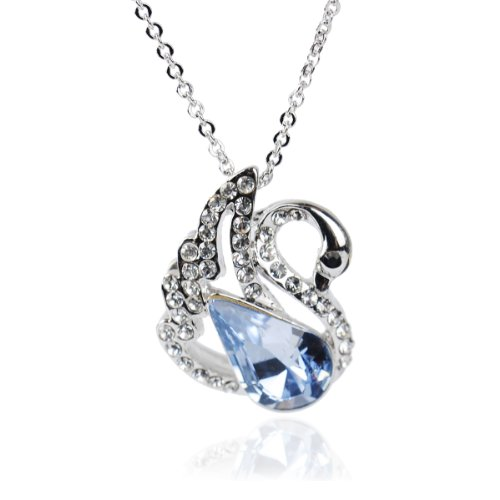 MADE WITH SWAROVSKI ELEMENTS Platinum Plated Necklaces &Sky Blue Swan Pendant Necklace For Women 925necklace Jewelry Necklace