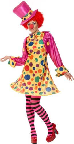 Smiffy'S Women'S Clown Lady Costume Hooped Dress Shirt Bow Tie Stripy Tights Hat, Multi, Medium