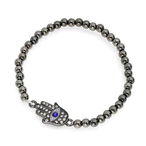 Metal Bead Stretch Bracelet with Hamsa Charm - Gray