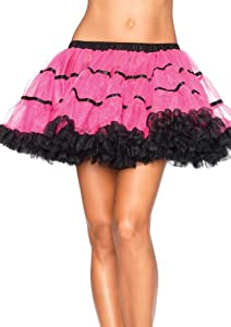 Leg Avenue Women's Layered Striped Petticoat Dress, Neon Pink/Black, One Size