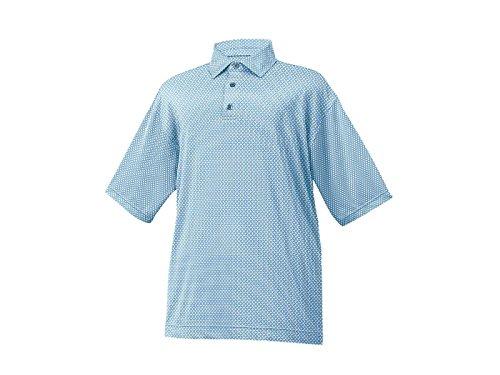 FootJoy Stretch Lisle Foulard Print Self Collar Golf Polo 2016 Light Blue Large