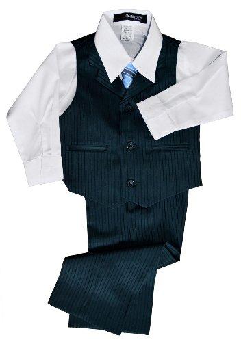 G280 Pinstripe Boys Formal Dresswear Vest Set (6, Charcoal/Teal) front-539511