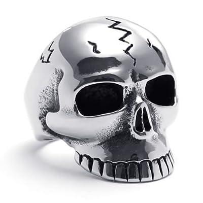 KONOV Jewelry Biker Men's Gothic Skull Stainless Steel Ring, Black Silver from Pin Zhen