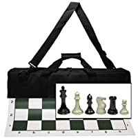 "WE Games Ultimate Tournament Chess Set with NEW Green Silicone Chess Mat, Canvas Bag & Super Triple Weighted Chessmen with 4"" King"
