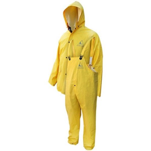Bob Dale 95-1-901FR-S Flame Resistant 3 PC PVC Polyester Rain Suit, Small, Yellow