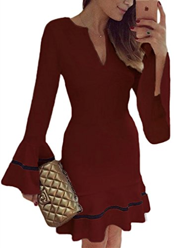 Sidefeel Women Cute V Neck Long Sleeve Pencil Sheath Mini Dress Small Red