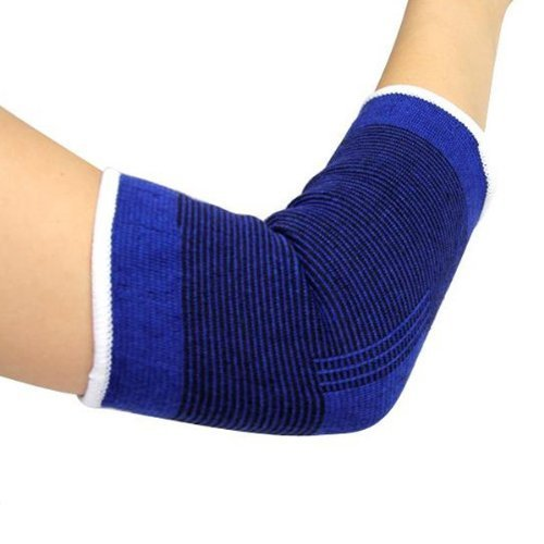 BuyBox™ One Pair Of Elastic Elbow Support Gaurd Pain Relief for Gym and Physical Activities (Free Size, Blue)