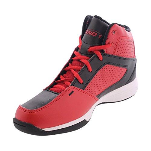 AND 1 Kids' Typhoon AU Skate Shoe, Black/Red/Black, 6 M US Big Kid