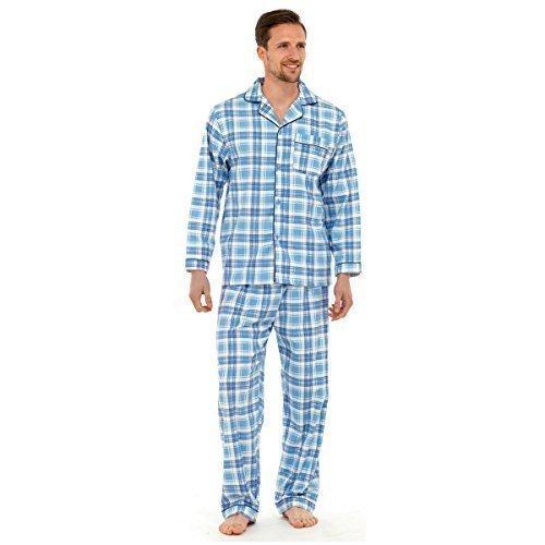 Gensen - Herren Traditionelles Flanell Pyjama Schlafanzug Set Nachtwäsche 2 Teile Set Baumwolle - Hellblau Kariert, M