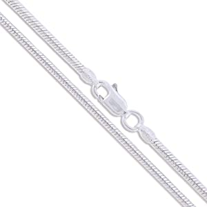 "Sterling Silver Magic Round Snake Chain 3mm 925 Brazilian New Necklace 16"" Valentines Day Gift"
