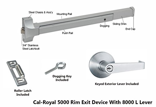 Cal Royal 36 Push Bar Panic Exit Device Aluminum With