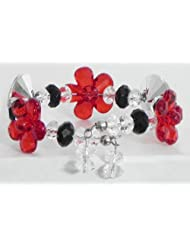 Red,White And Black Acrylic Bead Cuff Bracelet - Acrylic