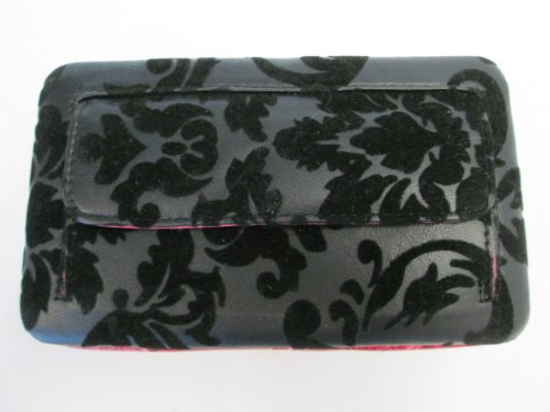 Women's Black Textured Flower Design Wallet Pink