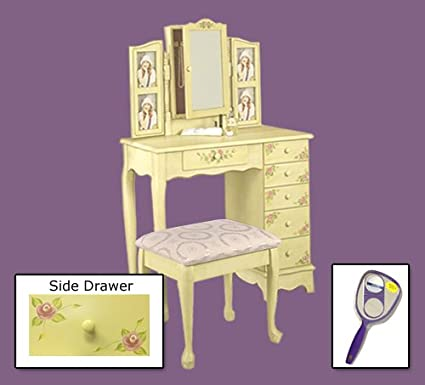 Ivory hand painted floral bedroom vanity and armoire set with photo ladders