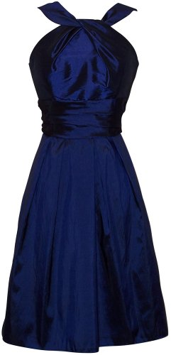 Taffeta Halter Bridesmaid Dress Prom Party Formal Gown Knee-Length