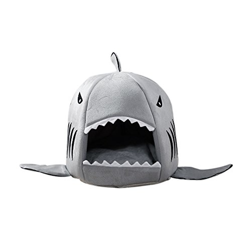 Pet Bed Mats, Han Shi Collapsible Indoor Pet Dog Cat Shark House Bed Shelter Cozy Nest Mat Pad (M(40*40CM), Grey)