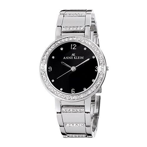 AK Anne Klein Women's 109233BKSV Swarovski Crystal Accented Silver-Tone Bracelet Watch