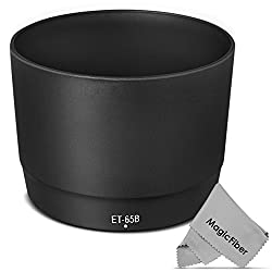 ET-65B Dedicated Altura Photo Lens Hood for Canon EF 70-300mm f/4.5-5.6 DO-IS USM, EF 70-300mm f/4-5.6 IS USM Lenses (Canon ET-65B Replacement) + MagicFiber Microfiber Lens Cleaning Cloth