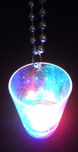 "7.5mm x 36"" Metallic Silver Bead w/ LED CLEAR SHOT GLASS W/RED, GREEN AND BLUE LIGHTS (EACH)"