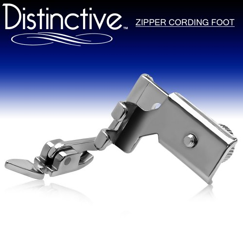 Distinctive Adjustable Zipper Piping Cording Sewing Machine Presser Foot - Fits All Low Shank Singer, Brother, Babylock, Euro-Pro, Janome, Kenmore, White, Juki, New Home, Simplicity, Elna and More! (Piping Foot For Sewing Machine compare prices)