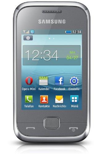 Samsung REX60 Smartphone (7,1 cm (2,8 Zoll) Touchscreen, 1,3 Megapixel Kamera, 30MB interne Speicher, microUSB) silber