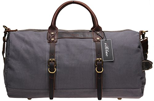Iblue Leather Weekend Duffle Bags Canvas Travel