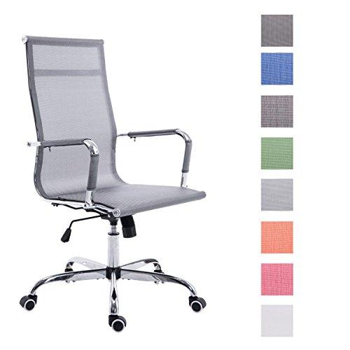 CLP Sedia da ufficio PAUL con stabile struttura in metallo e rivestimento in rete, altezza seduta regolabile 46 - 56 cm, meccanismo di inclinazione integrato grigio