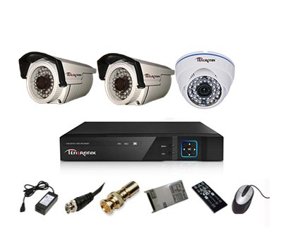 Tentronix-T-4ACH-3-B2DA13-4-Channel-AHD-Dvr,-1(1.3MP-36IR)-Dome,-2(1.3MP-36IR)-Bullet-Cameras-(With-Accessories)