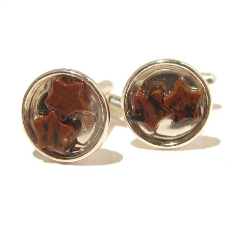 Obsidian Cufflinks 01 Business Stone Mahogany Star Brown Black Silver Brass Crystal