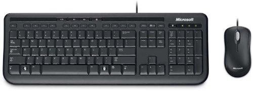 Microsoft Wired Desktop 600 Ensemble clavier AZERTY / Souris filaire optique Touches multimédia Noir