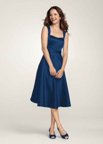 David's Bridal Bridesmaid Dresses Style Satin Wide Strap Tea Length Dress Style F14556, Marine, 10