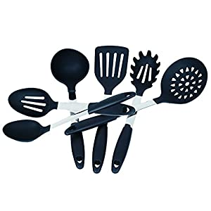 Kuke 6 Piece Kitchen Utensil Set,Heat Resistant Silicone Stainless Steel Cooking Tools,BPA Free Nylon Cookware Gadgets,Dishwasher Safe(Black)