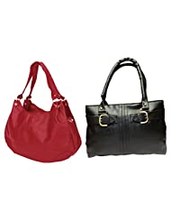 Arc HnH Women Handbag Combo Buckle Black + Palatial Red