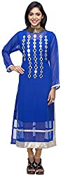 G&Z Collections Women's Georgette Straight Kurta (GZ015, Blue, 40)