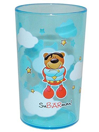 SuBRman-3-in-1-Trinkbecher-Zahnputzbecher-Malbecher-Becher-durchsichtig-Trinkglas-aus-Kunststoff-Plastik-Mdchen-Jungen-fr-Kinder-Kindergeschirr-Kinderbecher-Kinderglas-Brenbande-Teddybr-Bren-Bande
